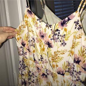 Floral Creme Spaghetti Strap Summer Dress